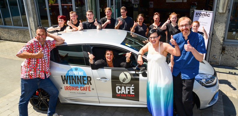 Ironic team winning best cafe of the year.